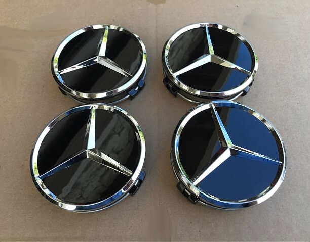 MERCEDES SET OF 4 BLACK CENTER WHEEL HUB CAPS 75MM COVER CHROME